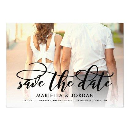 Whimsical Script Black Full Photo Save the Date Invitation