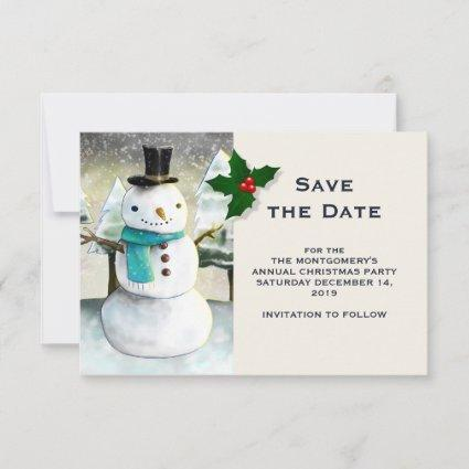 Whimsical Snowman Winter Scene Christmas Drawing Save The Date