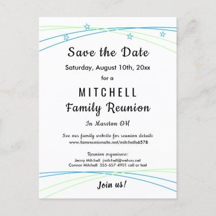 Whimsical Stars Family Reunion Save the Date Announcements Cards