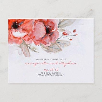 Whimsical watercolor inspired floral save the date announcement