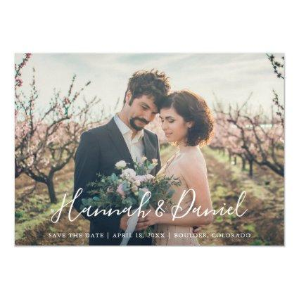 Whimsical White Script Photo Custom Save the Date Magnetic Invitation