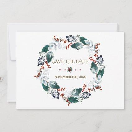Whimsical Winter Holy Berries Wreath Save The Date