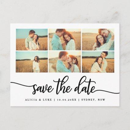 Whimsy Calligraphy Save the Date Photo Collage Announcement