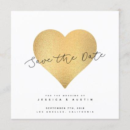 Whimsy Faux Gold Heart Save The Date