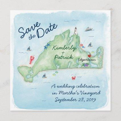 Whimsy Watercolor Wedding Map of Marthas Vineyard Save The Date