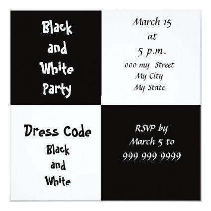 White and Black Party Cards