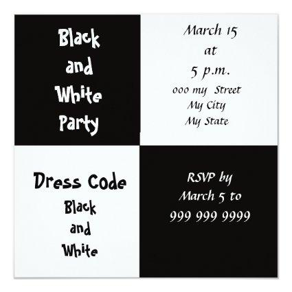 White and Black Party Invitation