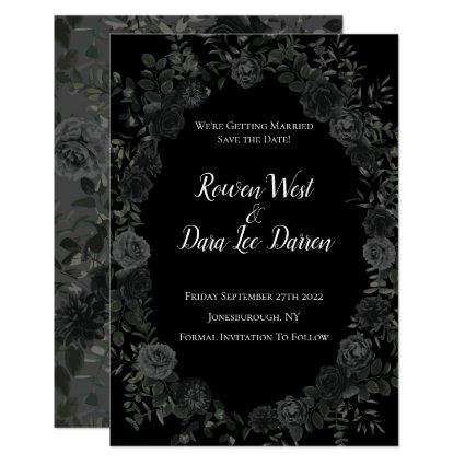 White and Black Rose Gothic Wedding Save the Date Invitation