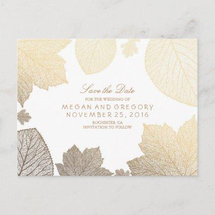 white and gold leaves fall save the date announcement