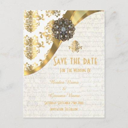 White and gold parchment damask save the date announcement