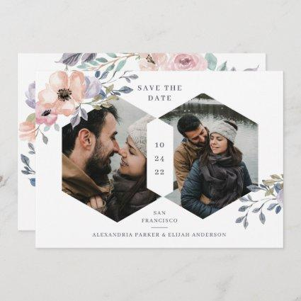 White and Pink Rose Geometric Floral | Two Photo Save The Date