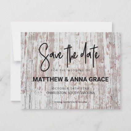 White Barn Wooden Rustic Save The Date
