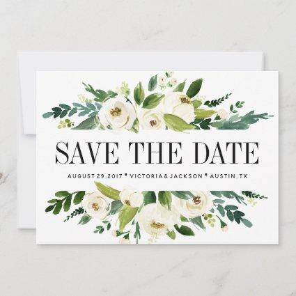 White Bloom   Floral WEDDING Photo save the date