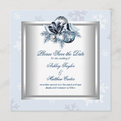 White Blue Snowflake Winter Wedding Save the Date
