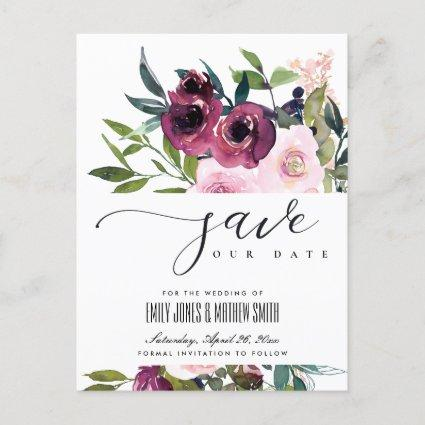 WHITE BLUSH BURGUNDY FLORAL BUNCH SAVE THE DATE ANNOUNCEMENT