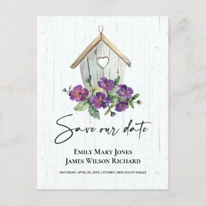 WHITE BOHO WOODEN FLORAL BIRDHOUSE SAVE THE DATE ANNOUNCEMENT