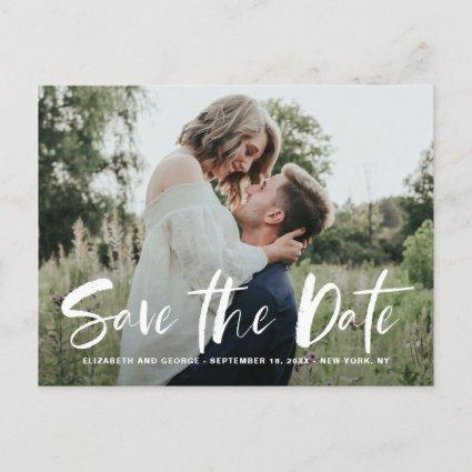 White Brush Hand Lettered Photo Save The Date Announcement