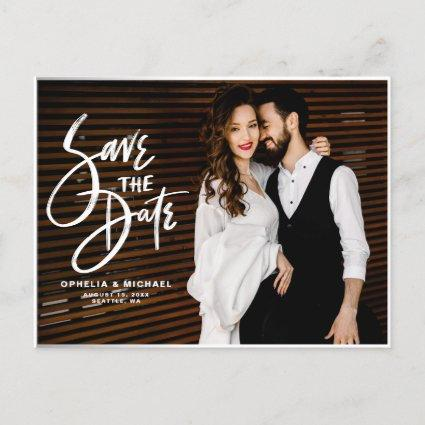 White Brush Script Typography Photo Save the Date Announcement