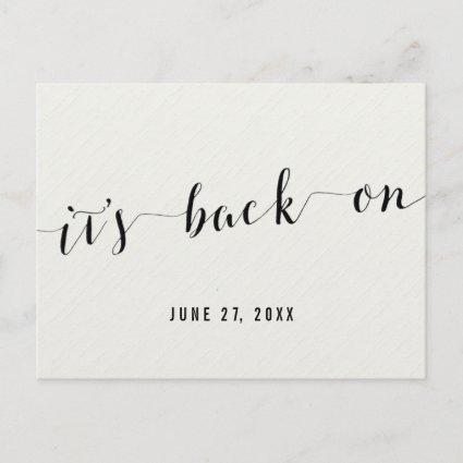 White Calligraphy Its Back On Save The Date Announcement