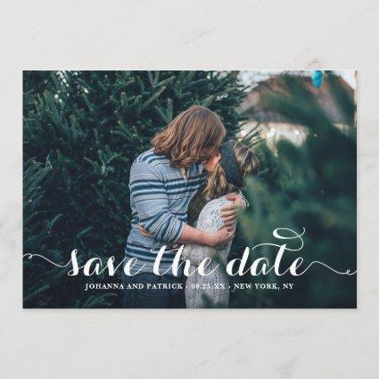 White Calligraphy Script Photo Save the Date Cards