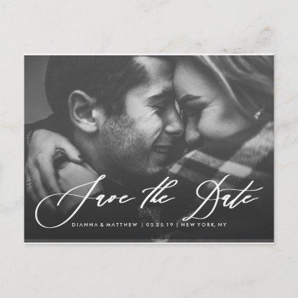 White Calligraphy Wedding Save the Date Photo Announcement