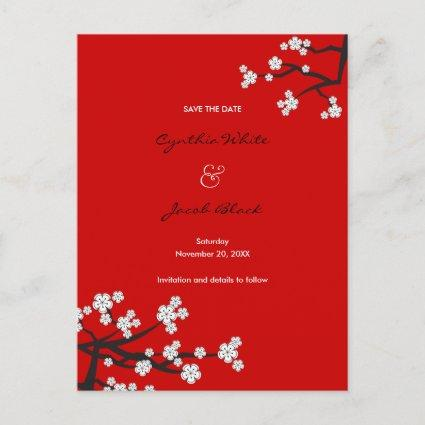 White Cherry Blossoms Sakura Asian Save The Date Announcement