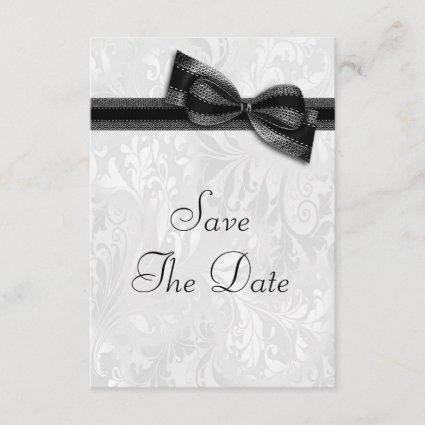 White Damask and  Faux Bow Save The Date Invitation