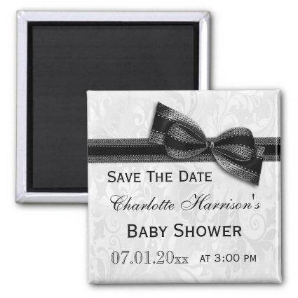 White Damask & Black Bow Baby Shower Save The Date Magnet