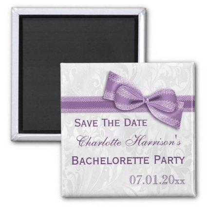 White Damask & Faux Bow Bachelorette Save The Date Magnet
