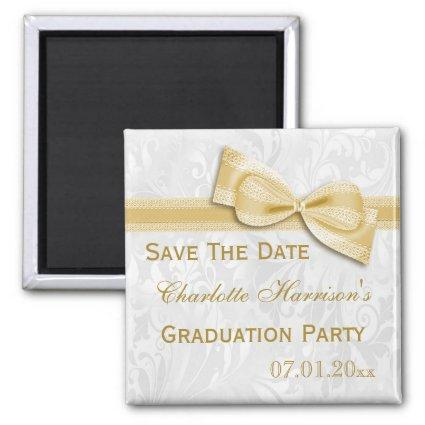 White Damask & Faux Bow Graduation Save The Date Magnets