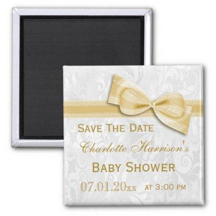 White Damask & Gold Bow Baby Shower Save The Date Magnet