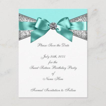 White Diamonds Teal Blue Save the Date