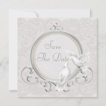 White Doves & Pearls Paisley Lace Save The Date