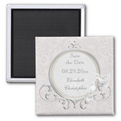 White Doves & Pearls Paisley Lace Save The Date Magnets
