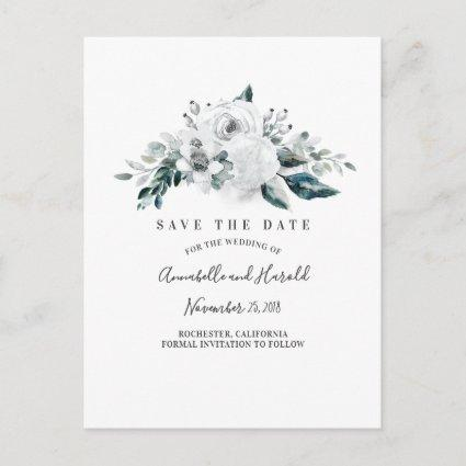 White Floral Elegant Save the Date Announcement