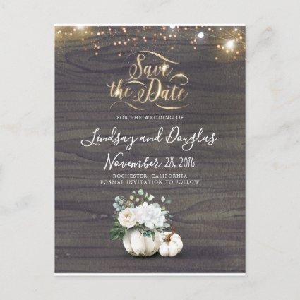 White Floral Pumpkin Rustic Fall Save the Date Announcement