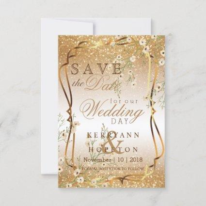 White Flowers & Gold Glitter Save The Date