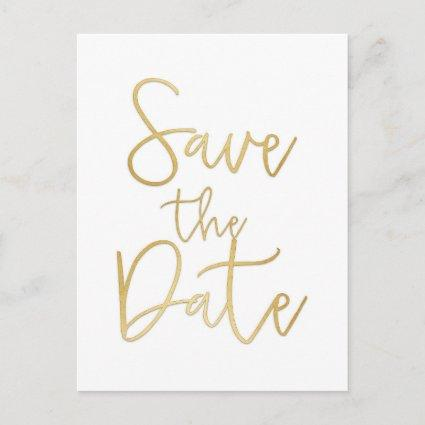 White & Gold SAVE THE DATE Modern Script