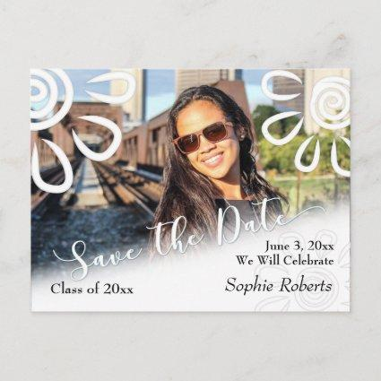 White Graphic Floral Save the Date Graduation Announcements Cards