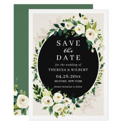 White Green Bloom Floral Wedding Save the Date Invitation