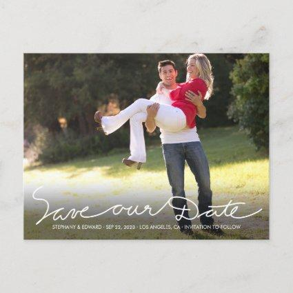 White Handwrite Save our Date Photo