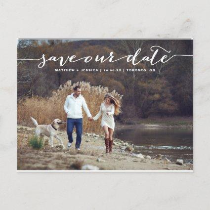 White Handwritten Script Photo Save Our Date II Announcement