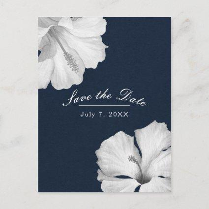 White Hibiscus Blue Tropical Save the Date Announcement