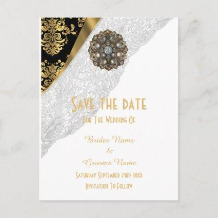 White lace, black and gold damask save the date announcement