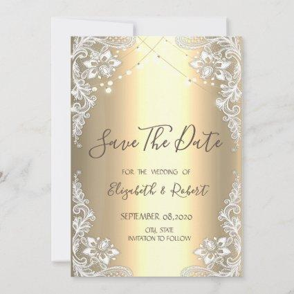 White Lace,String  Lights Gold Save The Date