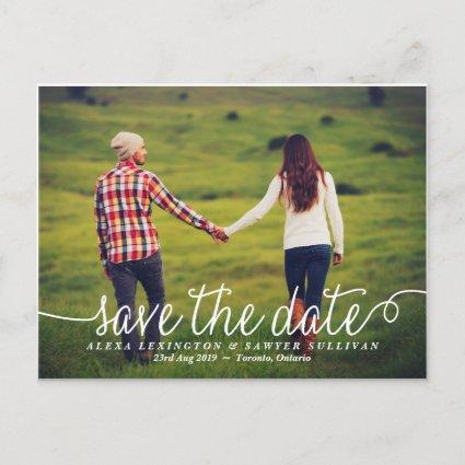 White Lovely Calligraphy Photo Save the Date Announcement