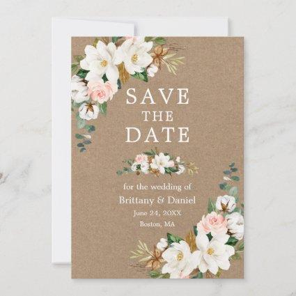 White Magnolias Pink Roses Watercolor Floral Kraft Save The Date