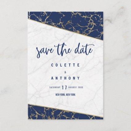 White navy blue gold marble Save The Date
