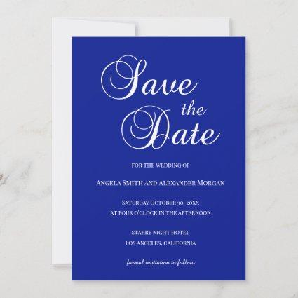 White on Royal Blue Decorative Script Save The Date