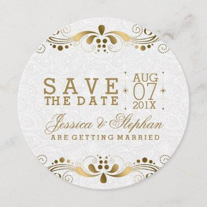 White Paisley & Gold Floral Swirls Save The Date